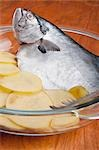 Close-up of a whole raw fish with sliced potatoes Stock Photo - Premium Rights-Managed, Artist: Glowimages, Code: 837-03187853