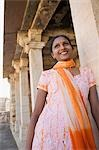 Woman standing in a palace and smiling, Chittorgarh, Rajasthan, India Stock Photo - Premium Rights-Managed, Artist: Photosindia, Code: 857-03192482