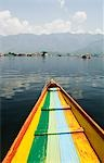 Colorful boat in a lake, Dal Lake, Srinagar, Jammu And Kashmir, India
