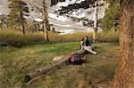 Couple Sitting on Log, Horton Lake, Inyo National Forest, California, USA Stock Photo - Premium Rights-Managed, Artist: Lalove Benedict, Code: 700-03195000