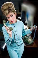 phone cord - Vintage portrait of young secretary with beehive answering the phone Stock Photo - Premium Rights-Managednull, Code: 842-03198804