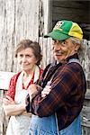 Senior couple standing outside weathered barn Stock Photo - Premium Rights-Managed, Artist: Kablonk! RM, Code: 842-03200538
