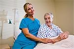 Portrait of nurse and senior woman in hospital room Stock Photo - Premium Rights-Managed, Artist: Kablonk! RM, Code: 842-03200745