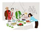 Illustration of Family at Buffet Stock Photo - Premium Royalty-Free, Artist: Lisa Brdar, Code: 600-03210522