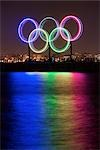 Olympic Rings at Night In Coal Harbour, Vancouver, BC, Canada Stock Photo - Premium Rights-Managed, Artist: Ron Fehling, Code: 700-03229404