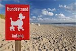 Dog Beach Starts Sign, Rantum, Sylt, North Frisian Islands, Nordfriesland, Schleswig-Holstein, Germany Stock Photo - Premium Rights-Managed, Artist: Raimund Linke, Code: 700-03229795