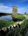 Castle near a bay, Clew Bay, County Mayo, Republic Of Ireland Stock Photo - Premium Rights-Managed, Artist: IIC, Code: 832-03232116