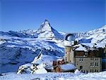 Gornergrat Kulm Hotel and Restaurant & Mount Matterhorn, Gornergrat Mountain, Zermatt, Switzerland Stock Photo - Premium Rights-Managed, Artist: Oriental Touch, Code: 855-03255189