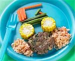 Kids home made burger with vegetable car and a rice road - With Recipe Stock Photo - Premium Rights-Managed, Artist: foodanddrinkphotos, Code: 824-03285437