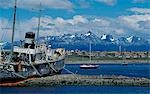 Argentina,Tierra del Fuego,Ushuaia. Wreck of the tug Saint Christopher with Beagle Channel and Tierra del Fuego in background. Stock Photo - Premium Rights-Managed, Artist: AWL Images, Code: 862-03288621