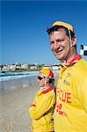 Surf lifesavers on Bondi Beach in eastern Sydney. The rescue volunteers are a common sight on Australian beaches,assisting swimmers in distress. Stock Photo - Premium Rights-Managed, Artist: AWL Images, Code: 862-03288858