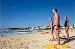 Members of the Bondi Surf Bathers Life Saving Club stand at the ready for a training rescue with traditional reel and line Stock Photo - Premium Rights-Managed, Artist: AWL Images, Code: 862-03288861