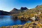 Australia,Tasmania. Peaks of Cradle Mountain (1545m) at Dove Lake on 'Cradle Mountain-Lake St Clair National Park' - part of Tasmanian Wilderness World Heritage Site. Stock Photo - Premium Rights-Managed, Artist: AWL Images, Code: 862-03289064