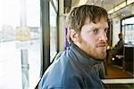 Man on LRT, Edmonton, Alberta, Canada Stock Photo - Premium Rights-Managed, Artist: Grant Harder, Code: 700-03290025