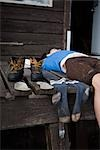 Woman Lying on Porch at Elfin Lake Hut, Garibaldi Provincial Park, British Columbia, Canada Stock Photo - Premium Rights-Managed, Artist: Grant Harder, Code: 700-03290031