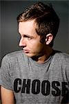 Man With Choose Written on His T-shirt Stock Photo - Premium Rights-Managed, Artist: Grant Harder, Code: 700-03290039