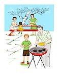 Illustration of Family Having a Barbecue Stock Photo - Premium Rights-Managed, Artist: Lisa Brdar, Code: 700-03290138