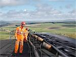 Workers Inspecting Coal On Conveyor Belt Stock Photo - Premium Royalty-Freenull, Code: 649-03294061