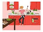 Illustration of Woman in the Kitchen Baking and Dancing Stock Photo - Premium Royalty-Free, Artist: Lisa Brdar, Code: 600-03294805