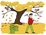 Illustration of Man Raking Leaves Stock Photo - Premium Rights-Managed, Artist: Lisa Brdar, Code: 700-03294804