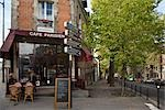 Cafe, Place du Rhin et Danube , Paris, Ile-de-France, France