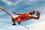 High Jumper in mid air over bar, low angle view Stock Photo - Premium Royalty-Free, Artist: Aflo Sport               , Code: 693-03300110