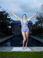 seniors and swim cap - Senior woman posing by pool, (portrait) Stock Photo - Premium Royalty-Freenull, Code: 693-03300700