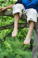 Young boy sitting on tree branch, low section, close up of feet Stock Photo - Premium Royalty-Freenull, Code: 693-03301747
