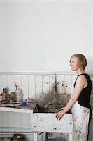 Artist standing by sink in studio Stock Photo - Premium Royalty-Freenull, Code: 693-03309435
