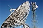 Telecommunications satellite dish and communications towers Stock Photo - Premium Royalty-Free, Artist: Siephoto, Code: 693-03310299