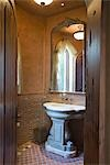 View through wooden doorway to stone wash stand Stock Photo - Premium Royalty-Free, Artist: Arcaid, Code: 693-03317475