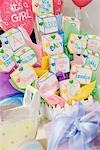 Baby Shower Gifts and Objects arranged on Table Stock Photo - Premium Royalty-Freenull, Code: 694-03322320