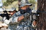 Soldiers aiming machine guns Stock Photo - Premium Royalty-Freenull, Code: 694-03328362