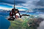 Tandem Sky Diving over The Remarkables, Queenstown, South Island, New Zealand Stock Photo - Premium Rights-Managed, Artist: R. Ian Lloyd, Code: 700-03333699