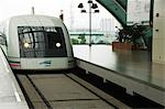 China,Shanghai. Maglev (magnetic levitation) Train between Shanghai city and Pudong International Airport which reaches a top speed of 430 kpm. Stock Photo - Premium Rights-Managed, Artist: AWL Images, Code: 862-03351262