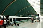 China,Shanghai. Maglev (magnetic levitation) Train between Shanghai city and Pudong International Airport which reaches a top speed of 430 kpm. Stock Photo - Premium Rights-Managed, Artist: AWL Images, Code: 862-03351263