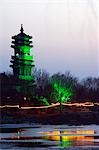 China,Beijing. Beiputuo temple and film studio set location,an illuminated pagoda at night. Stock Photo - Premium Rights-Managed, Artist: AWL Images, Code: 862-03351486