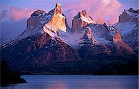 Paine Massif at dawn,seen across Lago Pehoe,Torres del Paine National Park,Chile. Stock Photo - Premium Rights-Managednull, Code: 862-03351985