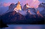 Paine Massif at dawn,seen across Lago Pehoe,Torres del Paine National Park,Chile. Stock Photo - Premium Rights-Managed, Artist: AWL Images, Code: 862-03351985