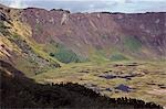 Chile,Easter Island. The rim of the crater of Rano Kau volcano at the south western tip of Easter Island. Stock Photo - Premium Rights-Managed, Artist: AWL Images, Code: 862-03352159