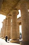 A man walks underneath the giant columns of the Hypostyle Hall in the Ramesseum,Luxor. Stock Photo - Premium Rights-Managed, Artist: AWL Images, Code: 862-03352769