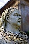 England,Dorset. Athelhampton House - stern faced Queen Victoria overlooks Athelhampton House. It is one of the finest examples of 15th century domestic architecture in the country. Medieval in style predominantly and surrounded by walls,water features and secluded courts. Stock Photo - Premium Rights-Managed, Artist: AWL Images, Code: 862-03353613