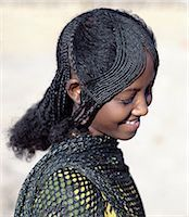 The fetching hairstyle of a young Afar girl. Proud and fiercely independent,the nomadic Afar people live in the low-lying deserts of Eastern Ethiopia. Stock Photo - Premium Rights-Managednull, Code: 862-03353970