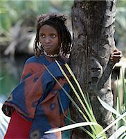 A young Afar girl at Filwoha in the Awash National Park. Filwoha in the Afar language means 'hot water'. The beautiful springs are surrounded by doum palms and rise from deep underground at about 96.8 degrees F. Stock Photo - Premium Rights-Managednull, Code: 862-03353976