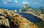 Sheer cliffs and low scrub characterise the magnificent scenery of Mallorca's northeastern cape. Stock Photo - Premium Rights-Managed, Artist: AWL Images, Code: 862-03354391