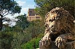 Near FelanitxStanding on the summit of 510m Puig Sant Salvador,a stone lion guards the plinth of an enormous Christ Statue that overlooks the Serra de Llevant Stock Photo - Premium Rights-Managed, Artist: AWL Images, Code: 862-03354395