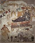 A fine early Coptic wall mural depicting the Nativity,which came from the ancient Christian monastery of Faras,founded in 707AD. A team of Polish experts saved the murals from this monastery before the site was submerged by Lake Nasser after the completion of Egypt's Aswan High Dam. A selection of these murals now hangs in Sudan's National Museum in Khartoum. Stock Photo - Premium Rights-Managed, Artist: AWL Images, Code: 862-03354560