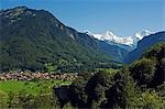 The Jungfrau mountain range sits above Interlaken Valley,Interlaken,Jungfrau Region,Switzerland Stock Photo - Premium Rights-Managed, Artist: AWL Images, Code: 862-03354688