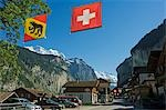 The Swiss and Regional Flag flies over the village of Interlaken,Jungfrau Region,Switzerland Stock Photo - Premium Rights-Managed, Artist: AWL Images, Code: 862-03354689