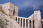 The Citadel before a storm,Aleppo. There has been a fortress on the site since at least 350BC,but most of the remains today date from the Mamluks in the 13th and 14th centuries. Stock Photo - Premium Rights-Managed, Artist: AWL Images, Code: 862-03354820